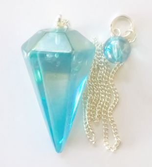 Aqua Aura Pendulum in Box (Clear Quartz vapour bonded with Gold)